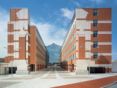 Contemporary architecture communicates with a classical past  at 1999 capitol buildings with facades of brick familiar in Toulouse, France.