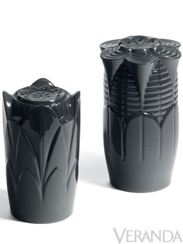 "<p>Black salt and pepper shakers, <a href=""http://www.lladro.com"">Lladro</a></p>"