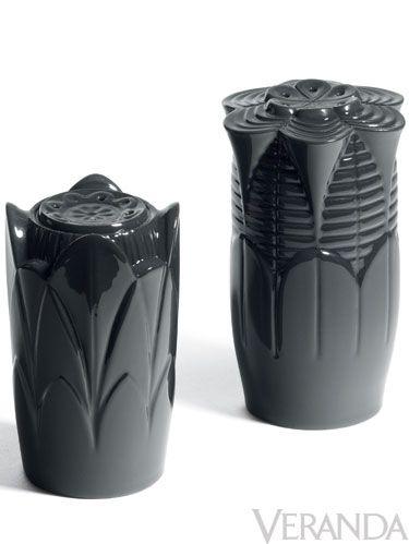 "<p>Black salt and pepper shakers, <a href=""http://www.lladro.com"">Lladro</a></p>"