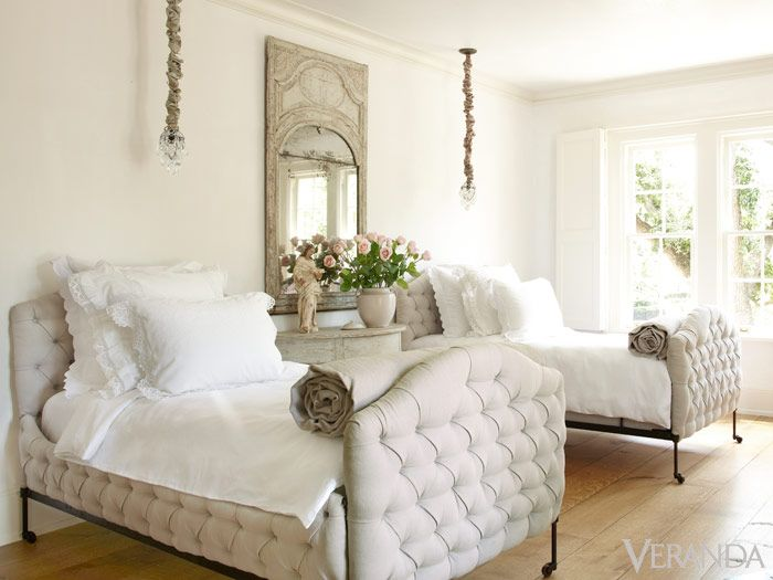 White Interior Design Ideas: French Country bedroom with twin tufted upholstered beds in Pamela Pierce French Country Home. #bedroomdecor #interiordesignideas #tufted #FrenchCountry