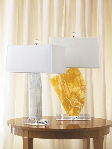 Simone Lamp made from satin spar. Yellow Miles Lamp made from honeycomb calcite.