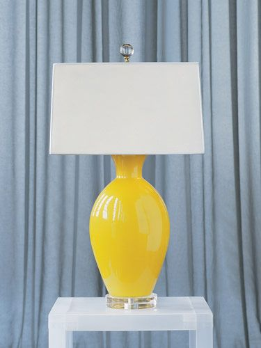 Jan Showersu0027 Italian Blown Glass Lemon Drop Lamp With Glass Finial.