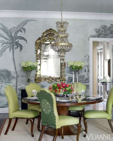 Room, Green, Interior design, Furniture, Table, Chair, Interior design, Home, Arecales, Light fixture,