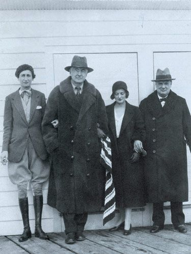 The Baruchs were involved politically and financially in national affairs. Belle and Bernard Baruch with Diana and Winston Churchill on dock at Hobcaw.