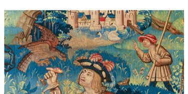 Falconry is the subject of this elaborate 16th-c. tapestry from Flanders, which sold in London for more than $1.2 million in 1997. Demand for tapestries continues to flourish.