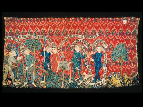 This tapestry-as-frieze, made in 1468 in Switzerland and now in the Historisches Museum Basel, is a fine example of medieval tapestry. Figures are hunting, tending trees and courting.