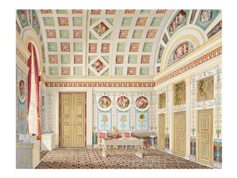 <p><b>THE DRESSING ROOM OF KING LUDWIG I AT THE MUNICH RESIDENZ</b><br/> Franz Xaver Nachtmann, 1836<br/> Gouache, gold paint, black ink, graphite on white wove paper </p>