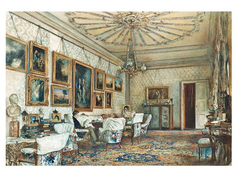 <p><b>THE SALON IN THE APARTMENT OF COUNT LANCKORONSKI IN VIENNA</b><br/> Rudolf von Alt, 1881<br/> Watercolor, white gouache on white wove paper </p>