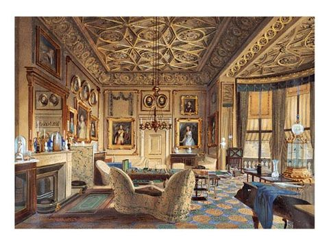 <p><b>THE QUEEN'S SITTING ROOM AT BUCKINGHAM PALACE</b><br/> James Roberts, 1848<br/> Watercolor, gouache, gum arabic, graphite on white wove paper </p>