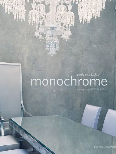 "<p>MONOCHROME</p> <p>By Paula Rice Jackson</p> <p><b>Introduction by John F. Saladino</b></p> <p><i>The Monacelli Press, $50</i></p>  <p>Monochromatic and monotonous are at opposite ends of the spectrum for design consultant Paula Rice Jackson. In twenty projects here, she shows how kaleidoscopic a tone-on-tone approach can be. The possibilities range from sleek white interiors by Michael Gabellini and Kimberly Sheppard to subtly shaded rooms by Vicente Wolf to earth-toned, textured environments by Clodagh to color-saturated living areas by Benjamin Noriega-Ortiz. John Saladino, represented by a West Coast residence, has marveled over color's many characters since studying with Josef Albers. ""Color is not flat: it's three-dimensional,"" Saladino writes, ""and we are enveloped in it always.""  </p>"