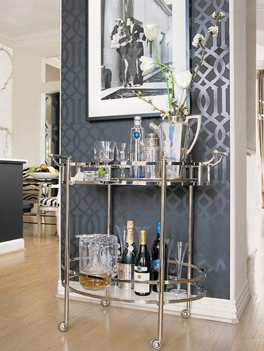 Restoration Hardware cart. Tiffany & Co. flutes.