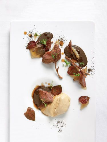 Pan-Roasted Squab Breasts with Birch, Devil's Club and Black Trumpet Mushrooms.