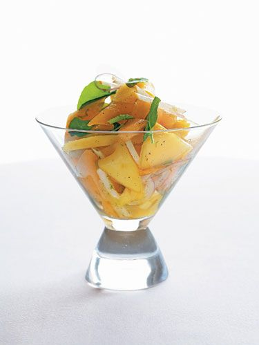 Cantaloupe, Mango and Asian Pear Salad With Key Lime-Vanilla Bean Vinaigrette from <i>Home Cooking With Charlie Trotter</i>