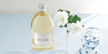 "<p>Carolyne Roehm provides a carafe of water, a tissue packet enclosed in extra fabric from the room's decor, French and Portuguese hand towels, and a notepad along with a sterling silver pen.</p><p>  Piqué coverlet by <a href=""http://www.matouk.com"" target=""_blank"">Matouk</a>.</p><p>French orange blossom water is for ironing linens before guests arrive.</p>"