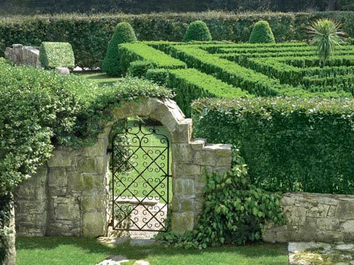 On this private estate, adults and children alike delight in the taxus maze.