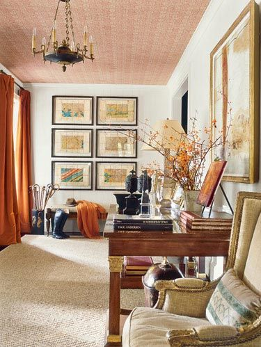 "Custom <a href=""http://www.walterknabe.com"" target=""_blank"">Walter Knabe</a> subtle damask wallpaper on foyer ceiling. Persimmon draperies in <a href=""http://www.hollandandsherry.com"" target=""_blank"">Holland & Sherry</a> fabric. Empire chandelier. <a href=""http://www.hollyhunt.com"" target=""_blank"">Great Plains</a> fabric on <a href=""http://www.michaelsmithinc.com"" target=""_blank"">Michael S. Smith</a> bench. <a href=""http://www.quatrain.net"" target=""_blank"">Quatrain</a> desk beside a French chair, c.1850."