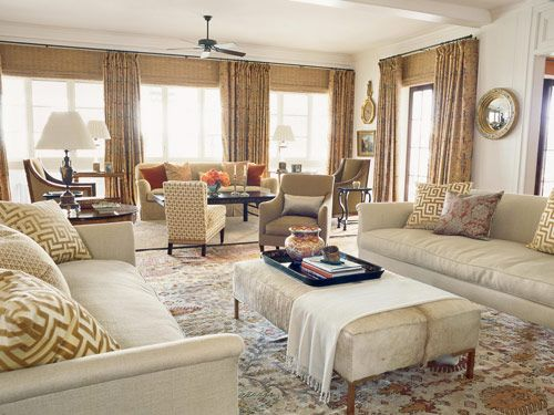 "<a href=""http://www.rosetarlow.com"" target=""_blank"">Rose Tarlow-Melrose House</a> sofas and chair in <a href=""http://www.nobilis.fr"" target=""_blank"">Nobilis</a> fabrics facing <a href=""http://www.plantationdesign.com"" target=""_blank"">Plantation</a> ottoman. Pillows in <a href=""http://www.clarencehouse.com"" target=""_blank"">Clarence House</a> and antique <a href=""http://www.fortuny.com"" target=""_blank"">Fortuny</a> fabrics. Draperies in Clarence House linen. <a href=""http://www.victoriahagan.com"" target=""_blank"">Victoria Hagan</a> slipper chair in Oscar de la Renta fabric for <a href=""http://www.starkfabric.com/fonthill"" target=""_blank"">Fonthill</a>. Antique mirror."