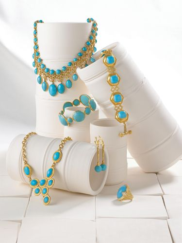 """<p><h2>Clockwise From Top Left: </h2></p> <p>Vintage French turquoise necklace with diamonds 18k gold from <a href=""""http://www.taigan.com/"""" target=""""_blank"""">Richters Estate Jewelers</a>. <a href=""""http://www.elizabethlocke.com/"""" target=""""_blank"""">Elizabeth Locke's</a> handmade turquoise bracelet in 19k yellow gold. <a href=""""http://www.judithripka.com/"""" target=""""_blank"""">Judith Ripka's</a> turquoise Oval Stone ring with diamonds in 18k yellow gold. Turquoise, diamonds and 18k yellow gold Sticks and Stones earrings by <a href=""""http://www.alexsepkus.com/"""" target=""""_blank"""">Alex Sepkus</a>. One-of-a-kind Sleeping Beauty turquoise Y-necklace in 24k gold from <a href=""""http://www.gurhan.com/"""" target=""""_blank"""">Gurhan</a>.</p> <p><h2>Center:</h2></p><p>Turquoise Abracadabra bangle in 18k gold from <a href=""""http://www.ippolita.com/"""" target=""""_blank"""">Ippolita</a>."""