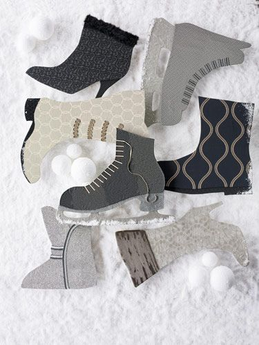 "<p>Boots and skates, <i>clockwise from top left</i>: Calvin Klein's ""Gents"" wool for <a href=""http://www.kravet.com/"" target=""_blank"">Kravet</a> with flocked scroll design, trimmed in Robert Allen's ""Vintage Feather"" with <a href=""http://www.beaconhilldesign.com/"" target=""_blank"">Beacon Hill's</a> silk-warp ""Romandie"" lattice as its heel. Calvin Klein's ""Linkage"" for Kravet, inspired by CK's menswear, in a metallic sheen, rayon/silk blend with blade in <a href=""http://www.dedar.com/"" target=""_blank"">Dedar's</a> linen blend ""Riffa."" Harlequin's ""Kara"" with sinuous trail embroidery on linen ground from its Iznik collection. Threads at <a href=""http://www.leejofa.com/"" target=""_blank"">Lee Jofa's</a> silk/metallic ""Frosted Leaf Silk"" with Dedar's ""Orsetto"" mohair. Lelièvre's gray, rippled cut-velvet ""Chapka"" with gray/black Houlès trim. Beacon Hill's silk storm-gray,""Capricorn"" medallion in subtle stripe with laces in <a href=""http://www.samuelandsons.com/"" target=""_blank"">Samuel &Sons</a> trim. <a href=""http://www.fschumacher.com/"" target=""_blank"">Schumacher's</a> ""Silk Tracery"" with stitch-like effect from its Pemberley Silks collection with Samuel & Sons trim.</p>"