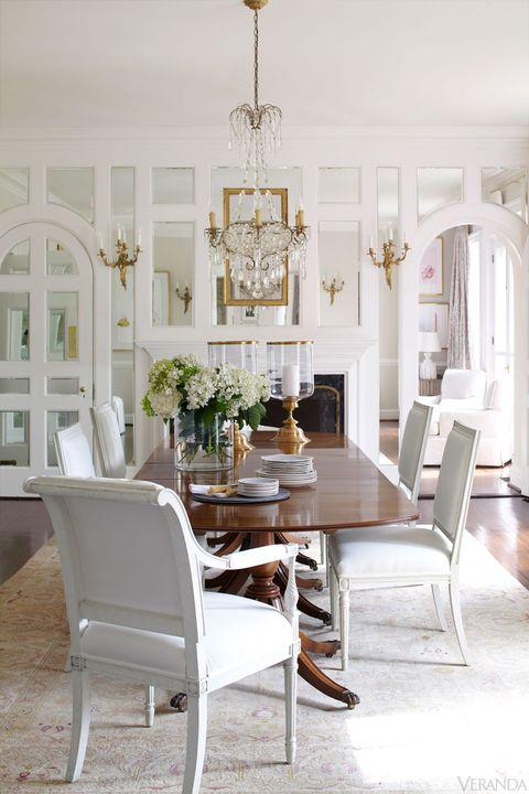 Room, Interior design, Floor, Furniture, White, Table, Chair, Chandelier, Flooring, Light fixture,