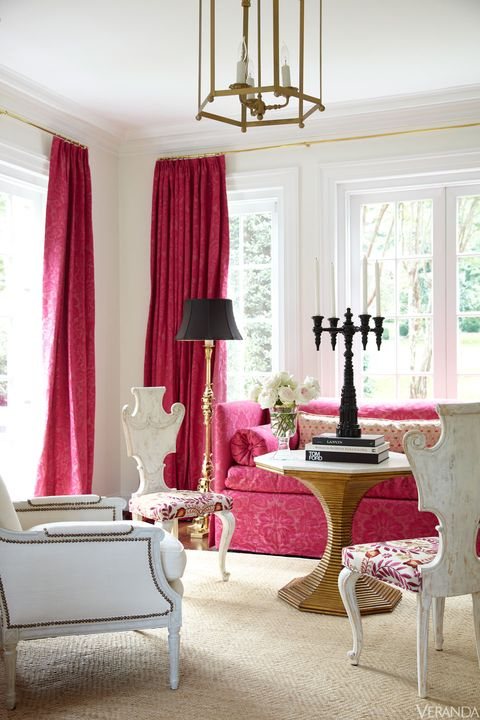 Room, Interior design, Textile, Furniture, Floor, Pink, Interior design, Home, Magenta, Window treatment,