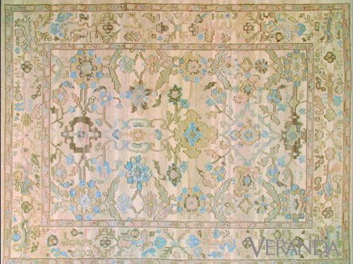 The chalky neutrals in Stark's replica of an elegant 19th-century antique (#217) soften an intricate design&#x3B; $12,000 for 9 x 12&#x3B; 212-752-9000.