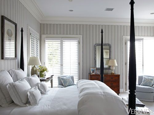 "<p><i>Kelli</i>: ""We always love upholstered walls in bedrooms—master bedrooms especially—because they add an air of importance and luxury. The softness and the way it absorbs sound is very cocooning.""</p><p><i>Kirsten</i>: ""That's a Duralee stripe we used to cover the walls in one of the bedrooms at Kelli's California house. The pattern on the walls added more interest to the room. The fabric tied everything together very nicely.""</p>"