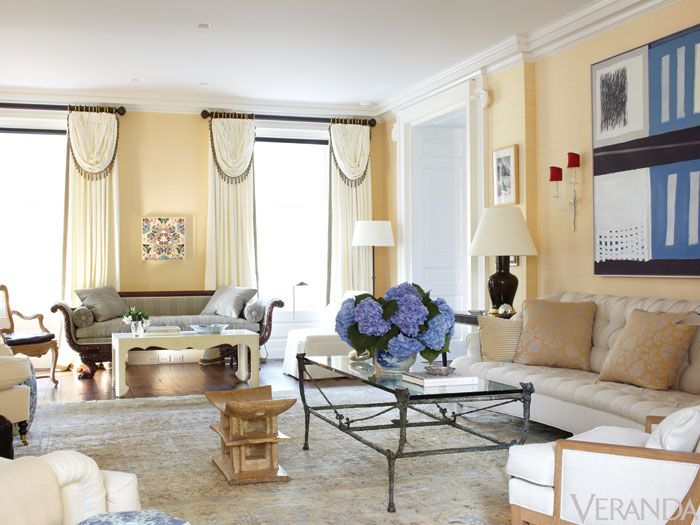 <p>The only piece of really grand furniture in here is that superb American Empire sofa, the rest is all light touches. One Jean-Michel Frank chair can really do a lot, and pull you out of a Georgian spiral.</p> <p>The living room is in some ways the most modern room in the house—I wanted that to take away from its size and make it something a young family would really use.</p> <p>The curtains are like Colefax & Fowler interpreted by a modernist—even with that heavy passementerie, they look hip to me.</p>