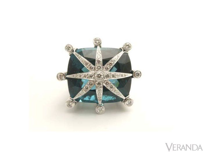 "Nothing says glamorous like Tony Duquette's oversized apatite and diamond ring in 18k gold by Hutton Wilkinson, $42,000; 310-271-4688, <a href=""http://www.tonyduquette.com/"" target=""_blank"">Tonyduquette.com</a>."