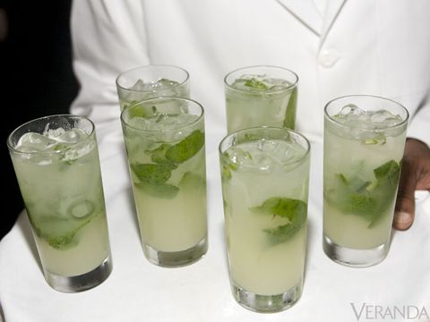 <p>Fresh squeezed lime juice <i>( I like it tart so I usually add more!)</i></p> <p>Fresh ginger simple syrup <i>(To make the syrup, steep equal parts hot water to sugar and add pieces of cut up fresh ginger—let cool and remove ginger)</i></p> <p>Muddle mint in bottom of the glass</p> <p>Ginger beer</p> <p>Bombay Sapphire Gin</p> <p>Soda water <i>(I use lime Perrier and I like a lot of Perrier so it's not too sweet)</i></p> <p>Mix lime juice, syrup and mint. Add gin, ginger beer and shake well—pour over ice, top with soda water or Perrier and add a sprig of mint for garnish.</p> <p>Serve with a straw.</p>  <p><i>I like serving in mint julep cups because it keeps the drink very cold!</i></p>   <p><i>Note: I believe all drinks should be made to your taste, so adjust the amounts as you like.</i></p>