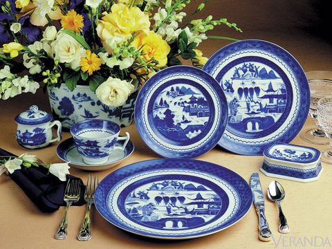 "From an ancient Chinese trading port to modern-day table settings, this traditional nineteenth-century design remains a perennial favorite. ""Blue and white Canton ware was produced over a hundred-year period, making it a style, not just a pattern,"" says Wendy Kvalheim, president of Mottahedeh. Blue Canton from Mottahedeh, $210 for 5-piece place setting."