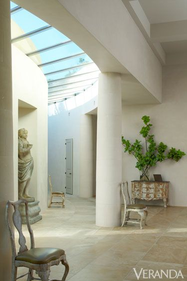 Interior design, Floor, Wall, Ceiling, Sculpture, Interior design, Flowerpot, Door, Column, Houseplant,