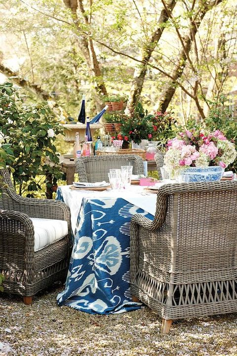 Blue, Tablecloth, Table, Furniture, Chair, Tree, Backyard, Spring, Textile, Linens,