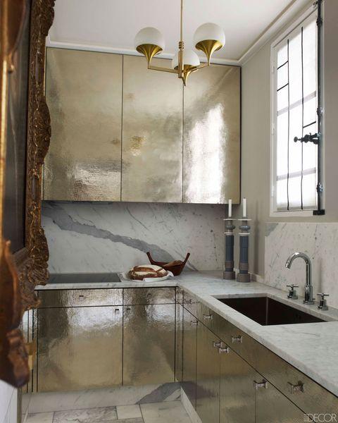 Plumbing fixture, Room, Kitchen sink, Interior design, Tap, Light fixture, Ceiling, Interior design, Sink, Fixture,