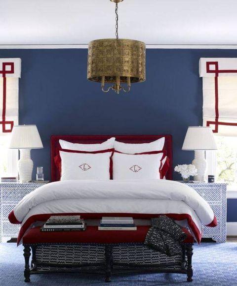 Room, Interior design, Red, Textile, Wall, Furniture, Bedding, Linens, Floor, Bedroom,