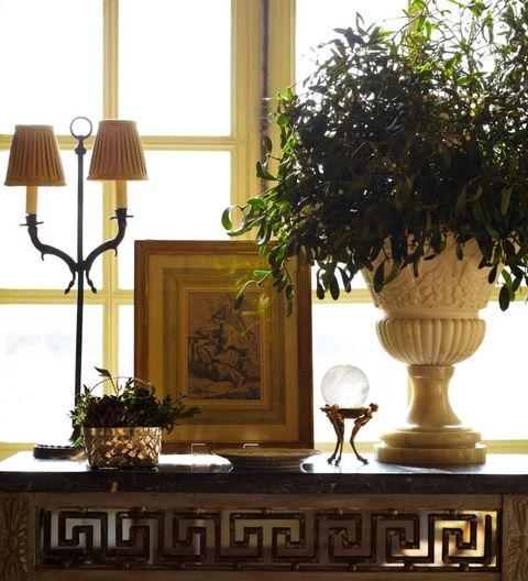 Interior design, Lamp, Flowerpot, Room, Lampshade, Interior design, Lighting accessory, Houseplant, Vase, Light fixture,