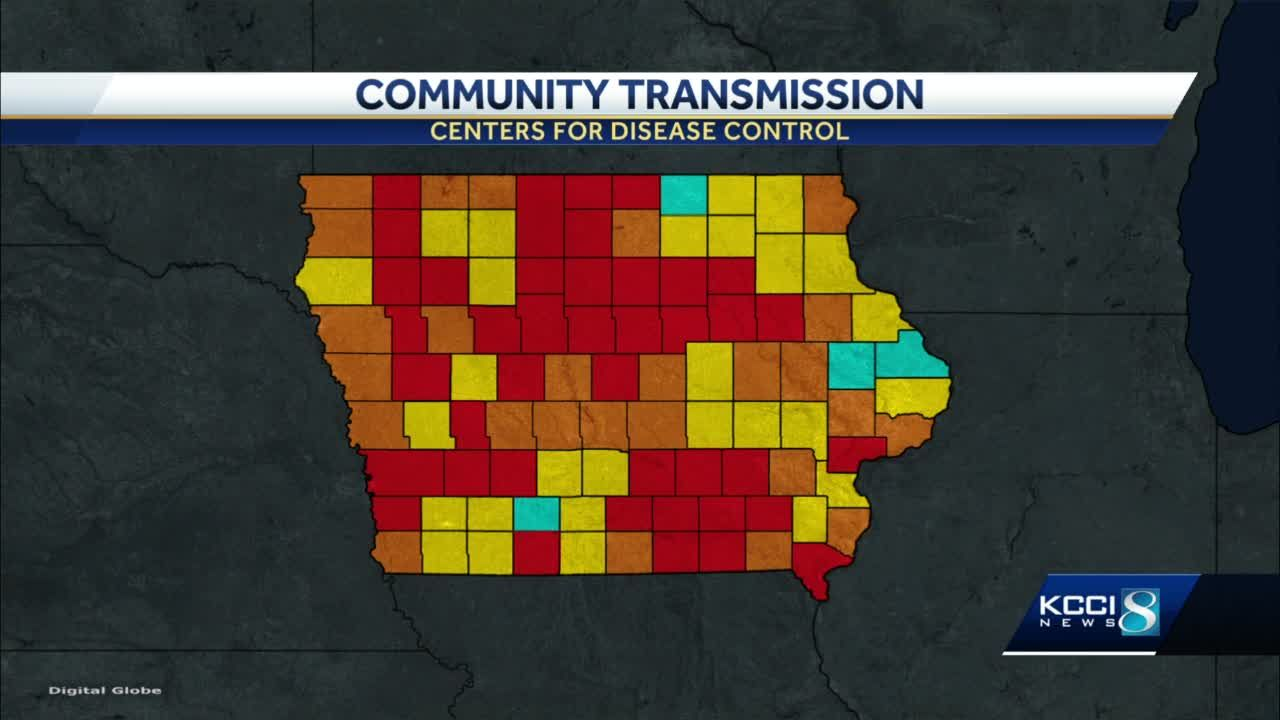 CDC reports substantial, high COVID-19 transmission in most Iowa counties