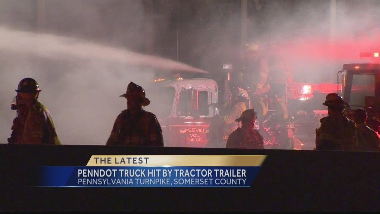Pa  turnpike detour lifted after fire, crash