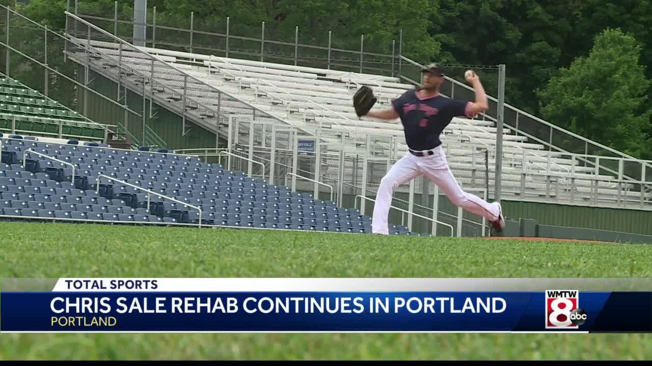 Red Sox pitcher Chris Sale works out with Portland Sea Dogs