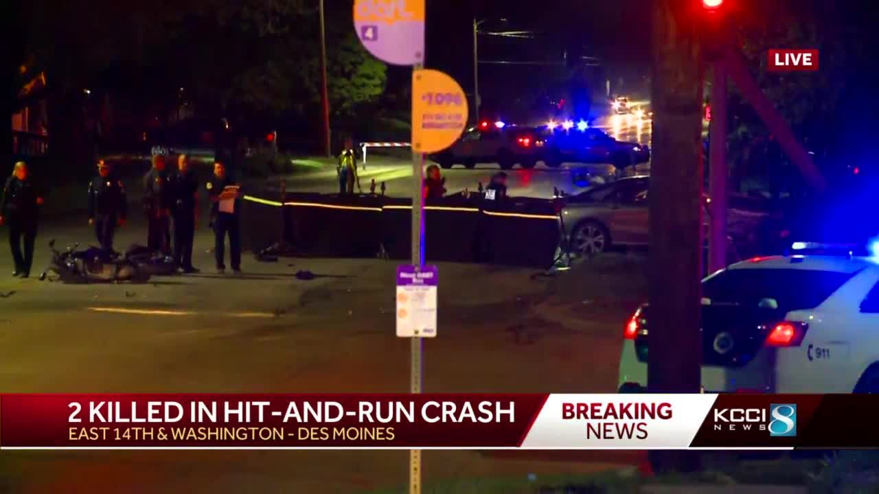 Des Moines police search for driver in crash that killed two motorcyclists