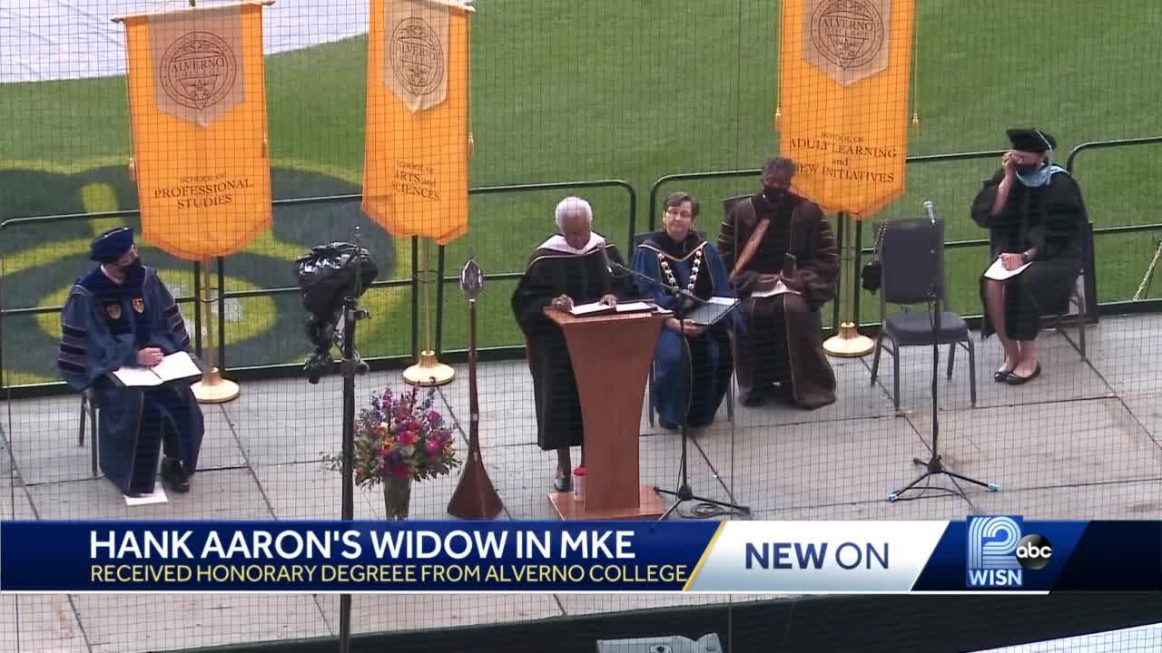 Hank Aaron's widow honors college graduates in Milwaukee