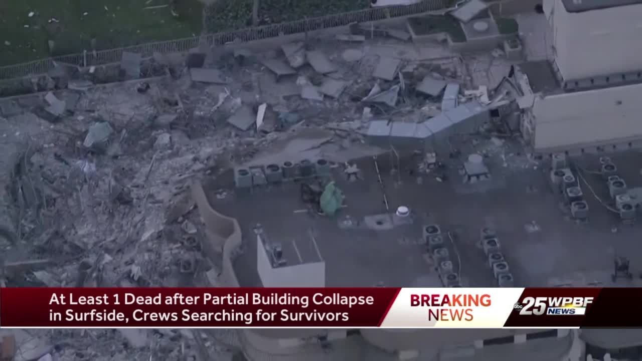 At least one dead after partial building collapse in Surfside
