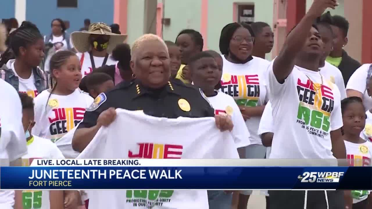 'Breaking chains': Fort Piece community holds peaceful march in celebration of Juneteenth federal holiday
