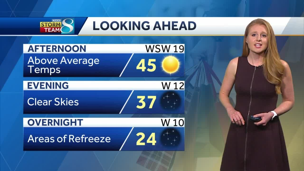 Above average temperatures come Wednesday afternoon