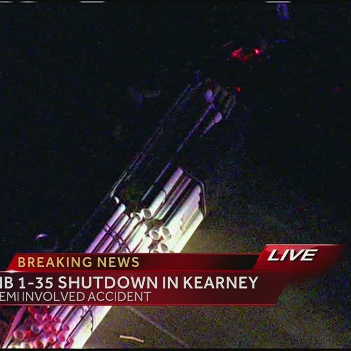 Overturned semi snarls I-35 traffic near Kearney