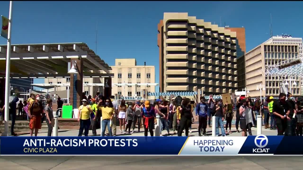 Numerous groups protest against hate and racism in Civic Plaza