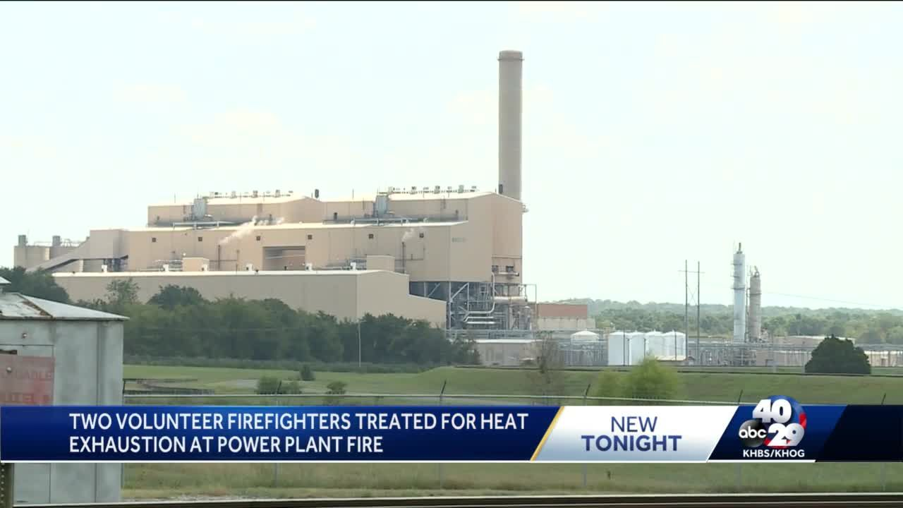Two volunteer firefighters treated for heat exhaustion at power plant fire