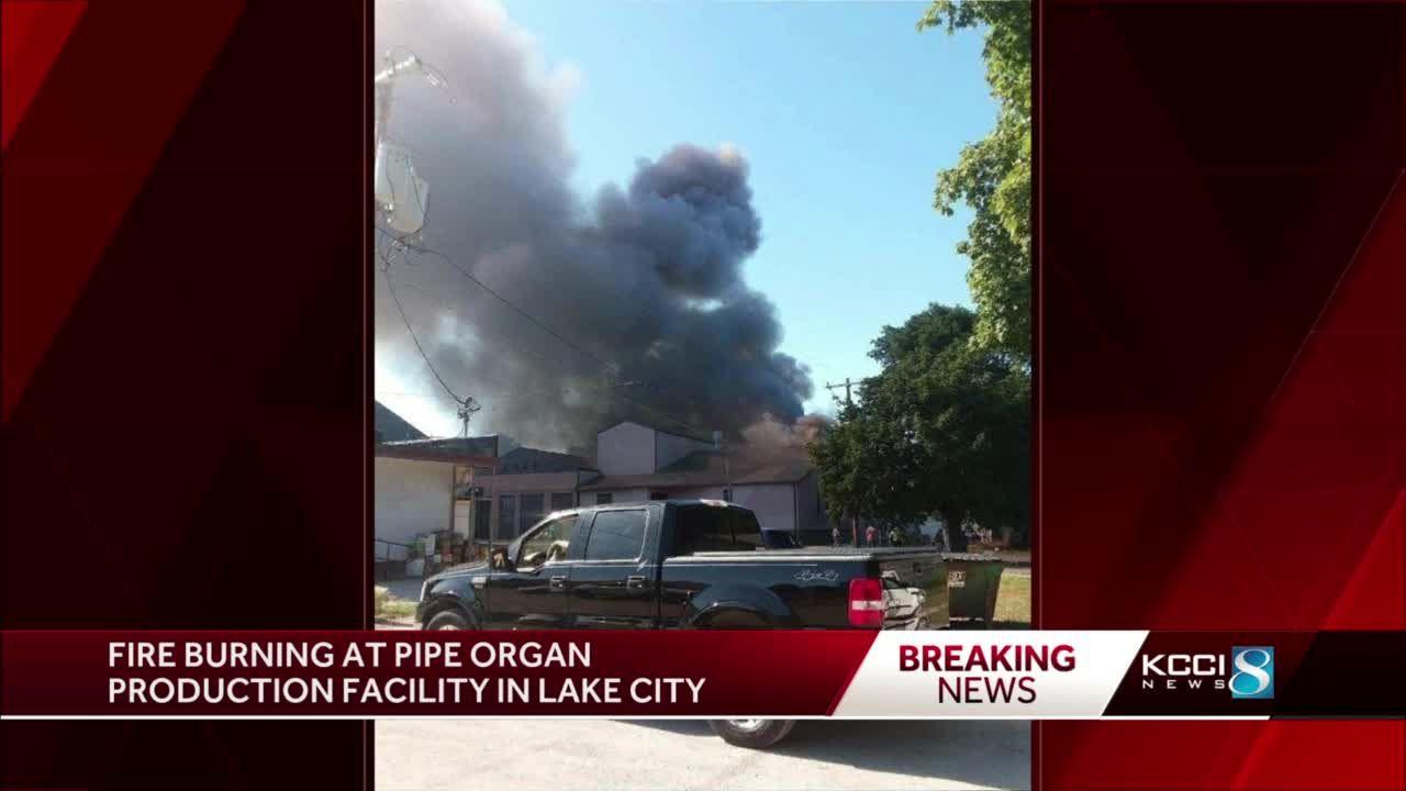 Fire burning at pipe organ production facility in Lake City
