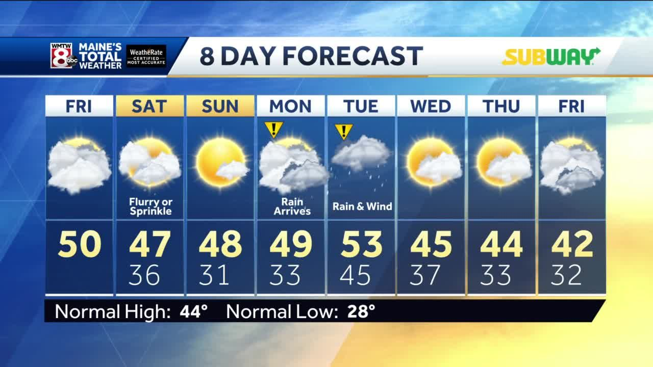 Mostly cloudy with an isolated sprinkle tonight and Saturday