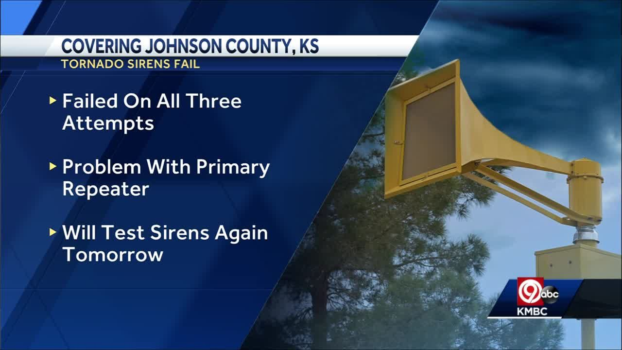 Tornado sirens failed to activate in Johnson County, Kansas, during statewide drill